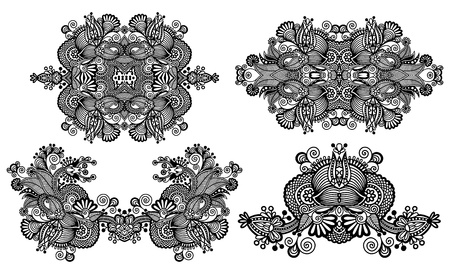 four ornamental floral adornment, black and white collection Vector