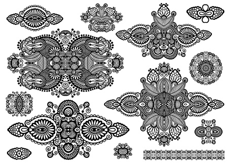 set of ornamental floral adornment, black and white collection Vector