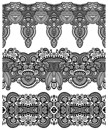 tissue texture: collection of seamless ornamental floral stripes, black and white collection
