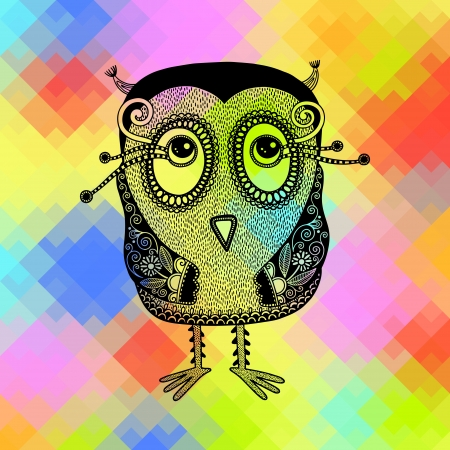original modern cute ornate doodle fantasy owl on geometrical rainbow  pattern Vector