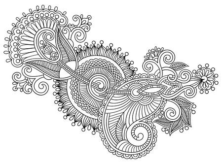 黒いライン アート華やかな花のデザイン、ウクライナ民族スタイル