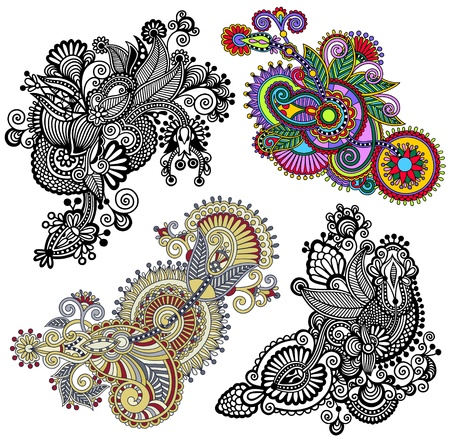 original hand draw line art ornate flower design. Ukrainian traditional style. Vector set Vector
