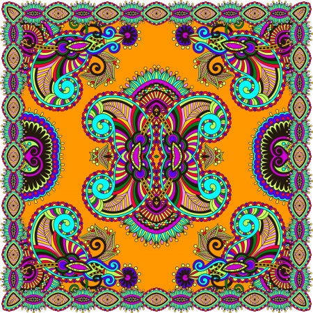Traditional ornamental floral paisley bandanna. You can use this pattern in the design of carpet, shawl, pillow, cushion Stock Vector - 21171826