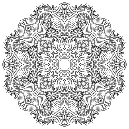 lines: Circle lace ornament, round ornamental geometric doily pattern, black and white collection Illustration