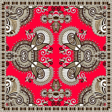 Traditional ornamental floral paisley bandanna. You can use this pattern in the design of carpet, shawl, pillow, cushion cushion Stock Vector - 21636335