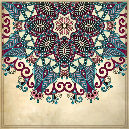 flower circle design on grunge background with lace ornament. Ukrainian pattern on old paper vintage background Vector