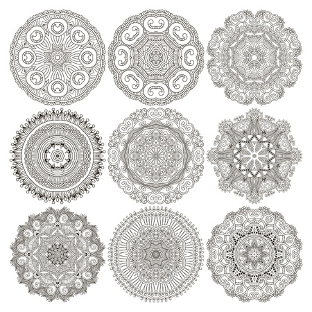 arabic: Circle lace ornament, round ornamental geometric doily pattern, black and white collection Illustration
