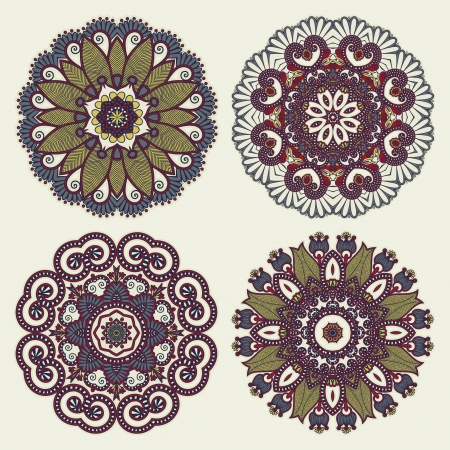 Circle lace ornament, round ornamental geometric doily pattern collection Vector