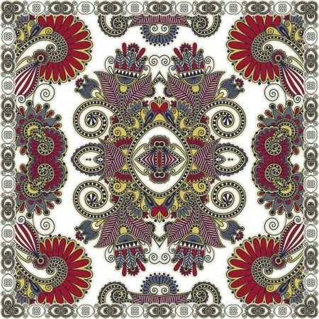 Traditional ornamental floral paisley bandanna. You can use this pattern in the design of carpet, shawl, pillow, cushion cushion Vector