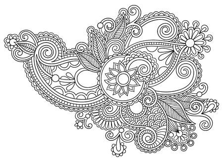 black line art ornate flower design, ukrainian ethnic style Vector