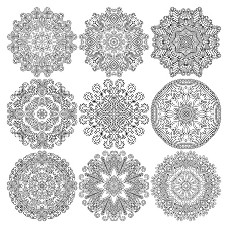 ornament: Circle lace ornament, round ornamental geometric doily pattern, black and white collection Illustration