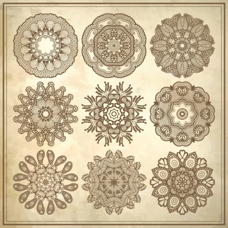 flower circle design on grunge background with lace ornament collection Vector