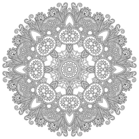Circle lace black and white ornament, round ornamental geometric doily pattern Vector