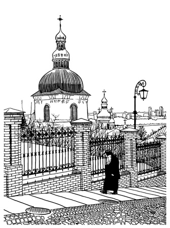 digital drawing of historical building landscape of ukrainian church with going monk, Pecherskaya Laurel,  Kiev, Ukraine, vintage engraving style Vector