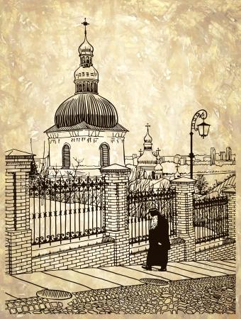 digital drawing of historical building landscape of ukrainian church with going monk, Pecherskaya Laurel,  Kiev, Ukraine, vintage engraving style on old paper background Vector