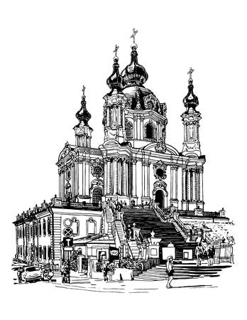 original schwarz und weiß digitale Zeichnung von Saint Andrew orthodoxen Kirche von Rastrelli in Kyiv (Kiew), Ukraine, Gravur-Stil