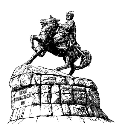 original sketchy black and white digital drawing of historic monument of famous Ukrainian hetman Bogdan Khmelnitsky on Sofia square, Kyiv (Kiev), Ukraine, Europe, engraved style Vector
