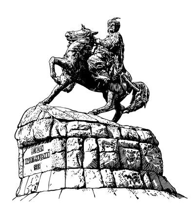 uomo a cavallo: originale abbozzato in bianco e nero di disegno digitale di monumento storico della famosa ucraina Hetman Bogdan Khmelnitsky sulla piazza Sofia, Kyiv (Kiev), Ucraina, Europa, stile inciso