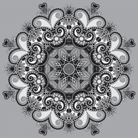 Circle grey lace ornament, round ornamental geometric doily pattern, black and white collection Vector