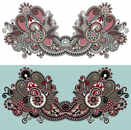 Neckline ornate floral paisley embroidery fashion design, ukrainian ethnic style. Good design for print clothes or shirt Vector