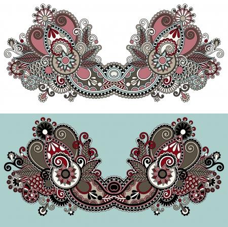 neckline: Neckline ornate floral paisley embroidery fashion design, ukrainian ethnic style. Good design for print clothes or shirt