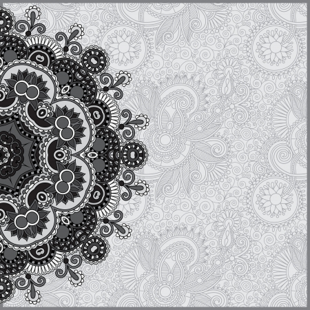 Circle grey lace ornament, round ornamental geometric doily pattern, black and white collection  イラスト・ベクター素材