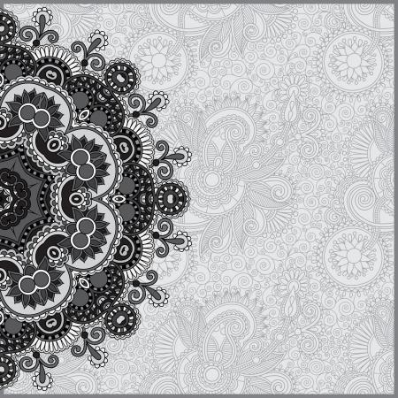 Cerchio grigio pizzo ornamento, rotonda ornamento centrino geometrico, raccolta in bianco e nero Archivio Fotografico - 21680701