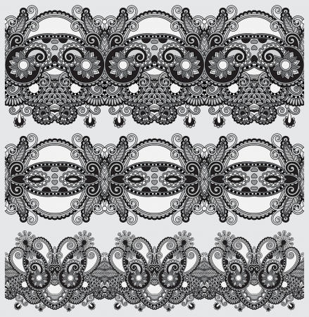 grey collection of seamless ornamental floral stripes, black and white collection Stock Vector - 21680743