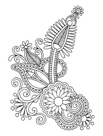 黒ライン アートの華やかな花のデザイン、ウクライナの民族様式、手描きのトレース 写真素材 - 21680780