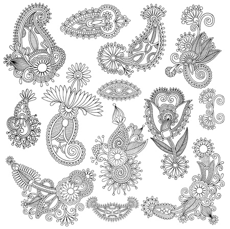 黒ライン アート華やかなフラワー デザイン コレクション、ウクライナの民族様式、手描きのトレース