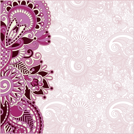 Ornamental floral pattern with place for your greetings, invitations, announcements in flower background Illustration