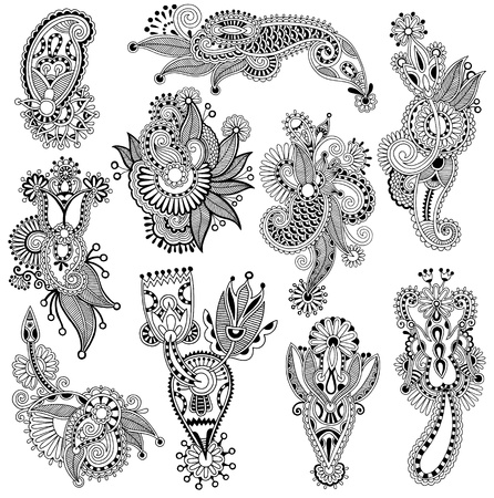 hindi: black line art ornate flower design collection, ukrainian ethnic style, autotrace of hand drawing