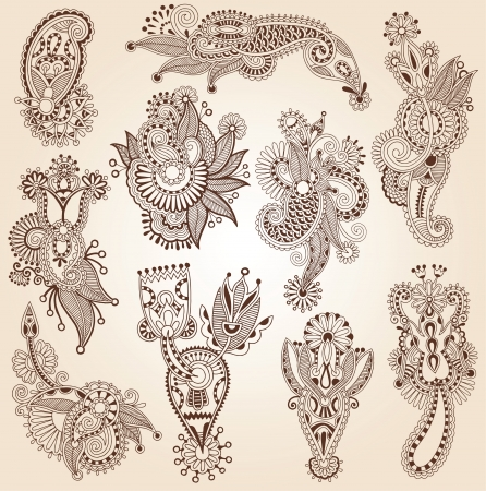 hindi: Linea arte ornato raccolta fiore design, stile etnico ucraino, AutoTrace di disegno a mano