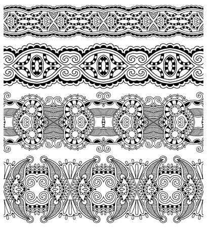 friso: colección de rayas florales ornamentales sin costura, colección blanco y negro