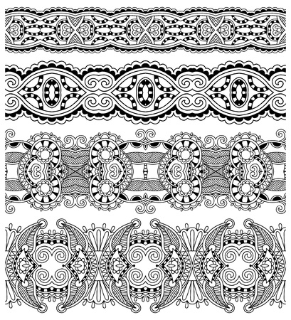 collection of seamless ornamental floral stripes, black and white collection Vector