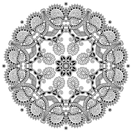 Circle lace ornament, round ornamental geometric doily pattern, black and white collection Vector