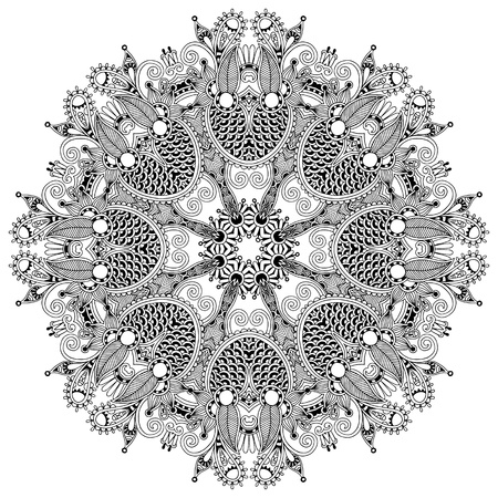 lace filigree: Circle lace ornament, round ornamental geometric doily pattern, black and white collection Illustration