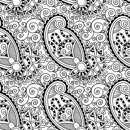 黒と白の華やかなシームレスな花ペイズリー デザインの背景