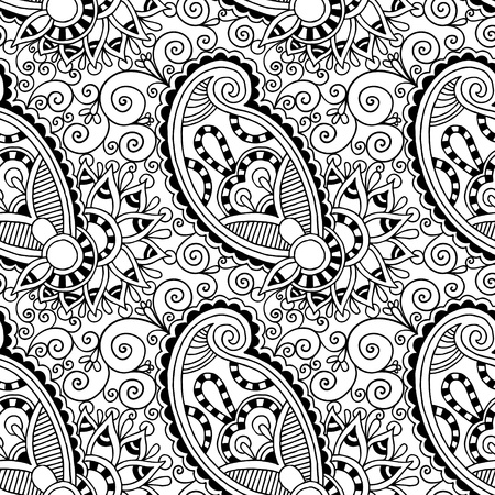 paisley: black and white ornate seamless flower paisley design background