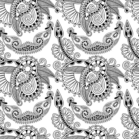 black and white ornate seamless flower paisley design background Stock Vector - 21758675
