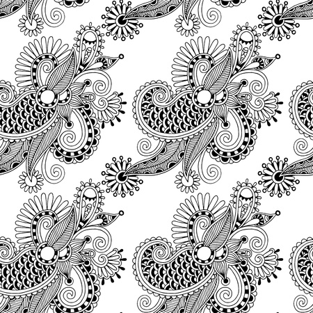 digital drawing black and white ornate seamless flower paisley design background Vector