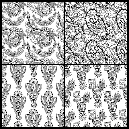 black and white ornate seamless flower paisley design background collection Vector