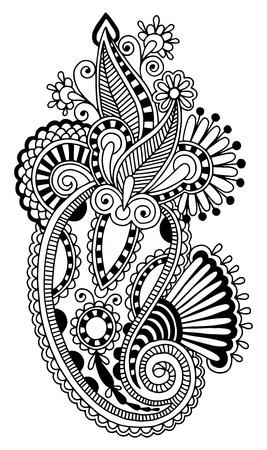 hindi: black line art ornate flower design, ukrainian ethnic style, autotrace of hand drawing