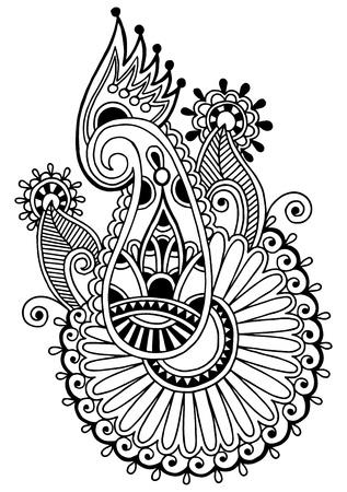 lace filigree: black line art ornate flower design, ukrainian ethnic style, autotrace of hand drawing
