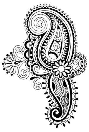 black line art ornate flower design, ukrainian ethnic style, autotrace of hand drawing Vector