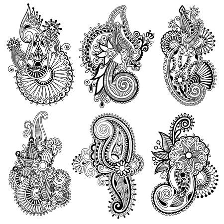 블랙 라인 아트 화려한 꽃 디자인 컬렉션, 우크라이나어 민족 스타일, 핸드 드로잉의 자동 추적 일러스트