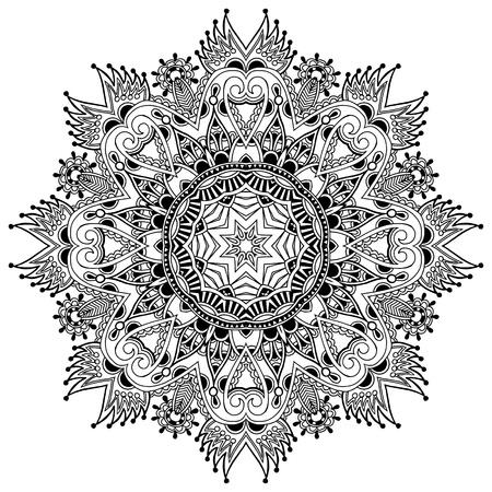 Circolo pizzo ornamento, rotondo ornamentale centrino geometrico, raccolta in bianco e nero Archivio Fotografico - 21758722