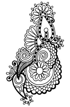 黒ライン アートの華やかな花のデザイン、ウクライナの民族様式、手描きのトレース