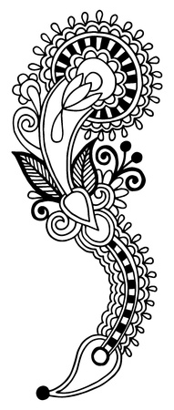 black line art ornate flower design, ukrainian ethnic style, autotrace of hand drawing