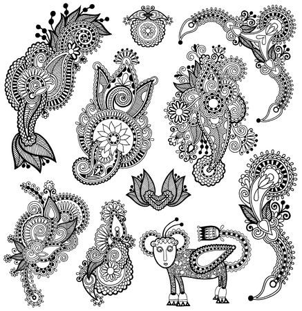 paisley: black line art ornate flower design collection, ukrainian ethnic style, autotrace of hand drawing